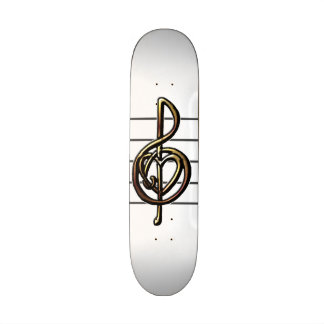 Choose a Color Embossed Look Treble Clef and Hear Skate Deck