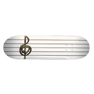 Choose a Color Embossed Look Treble Clef and Hear Skateboard Decks