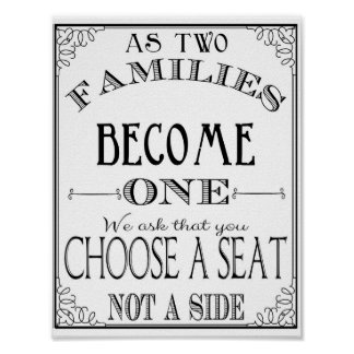 Choose a seat not a side wedding poster