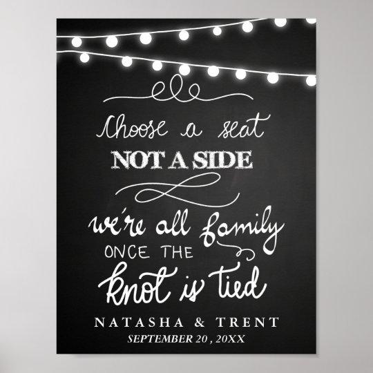 Choose A Seat String Lights Chalkboard Wedding Poster