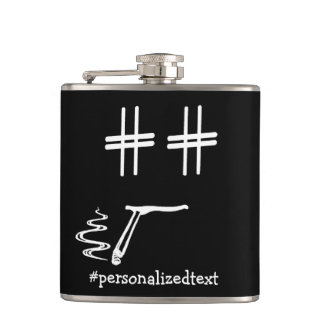 CHOOSE ANY COLOR #Hashtag Dude Smiley Personalized Hip Flask