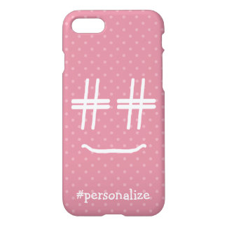 CHOOSE ANY COLOR #Hashtag Smiley Face Personalized iPhone 8/7 Case