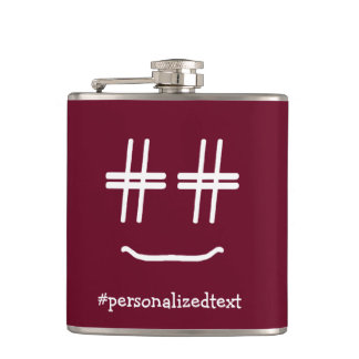 CHOOSE ANY COLOR # Hashtag Smiley Personalized Flask
