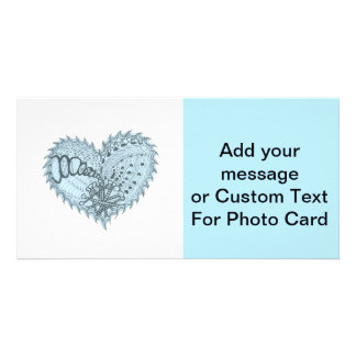 Choose Any Color Spiky Edgy Fire Love Heart Customised Photo Card