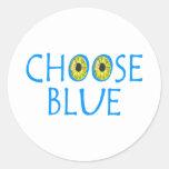 Choose Blue Round Stickers