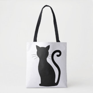 CHOOSE COLOR Black Cat Silhouette Cute Fun Girly Tote Bag