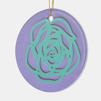 Choose Color Rose on Purple Round Ceramic Decoration