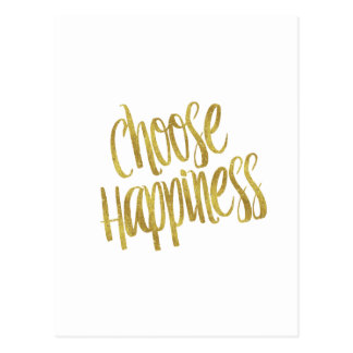 Choose Happiness Quote Faux Gold Foil Sparkly Postcard