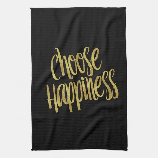 Choose Happiness Quote Faux Gold Foil Sparkly Tea