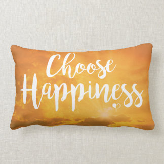 Choose Happiness Yellow Lumbar Pillow