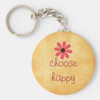 Choose Happy Affirmation Basic Round Button Key Ring