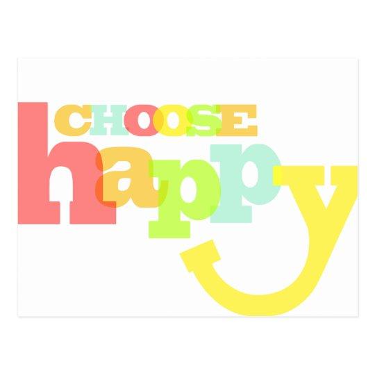 Choose Happy Quote Postcard Zazzlecouk