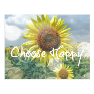 Choose Happy Quote with Sunflowers Postcard