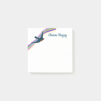 """Choose Happy"" Rainbow and Bluebird Post-it Notes"