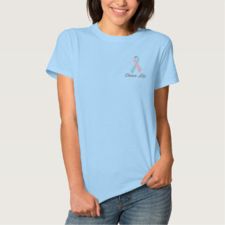 Choose Life, Pro-Life Shirt, Embroidered Ribbon Polo
