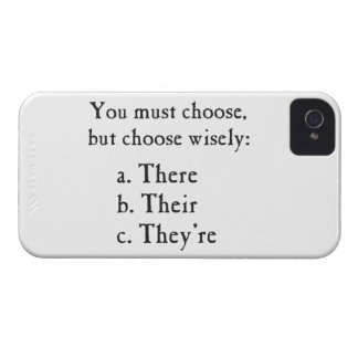 Choose Wisely There Their They're Grammar iPhone 4 Covers