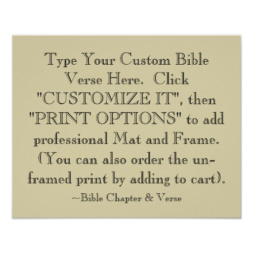 Choose Your Bible Verse Art Print, Optional Framed Poster