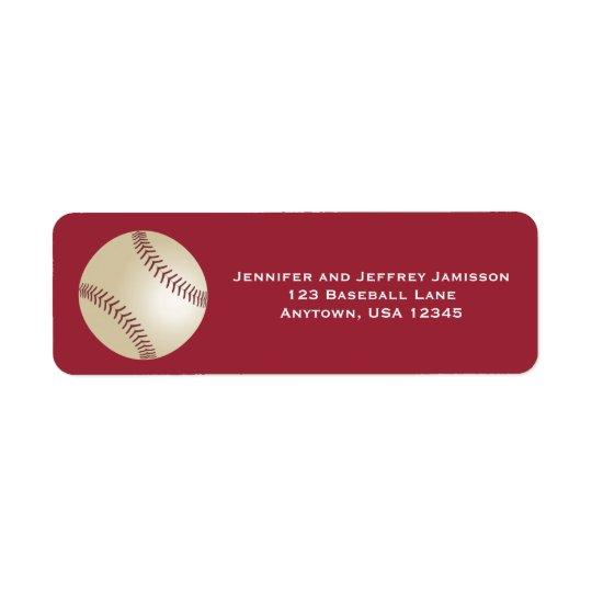 CHOOSE YOUR COLOR Baseball Return Address Labels