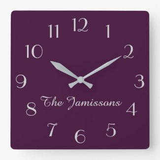 CHOOSE YOUR COLOR, Clock, Purple Default Square Wall Clock