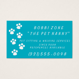Choose Your Color Pet Sitting Paw Print Card