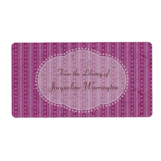 Choose Your Colour Dainty Stripes Book Plate Label