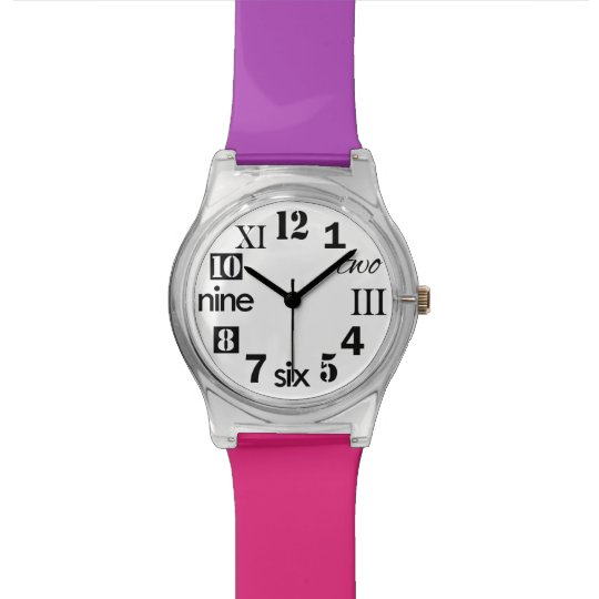 Choose Your Colours, Cute Number Face Women's Watch