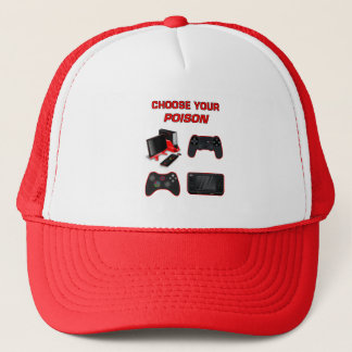 Choose Your Game Gaming White Red For Pro Gamer Trucker Hat