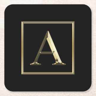Choose Your Own Shiny Gold Monogram Coaster
