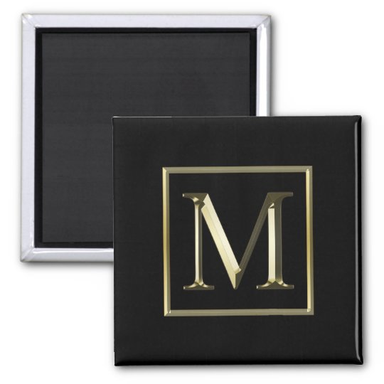 Choose Your Own Shiny Gold Monogram Magnet