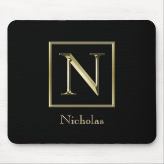 Choose Your Own Shiny Gold Monogram Mousepad