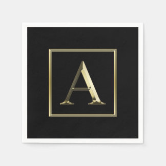 Choose Your Own Shiny Gold Monogram Napkin Paper Napkin