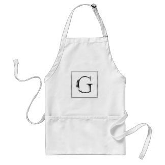 Choose Your Own Shiny Silver Monogram Apron