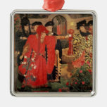 Choosing the Red and White Roses in Temple Christmas Ornament