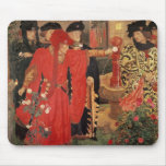Choosing the Red and White Roses in Temple Mouse Mat