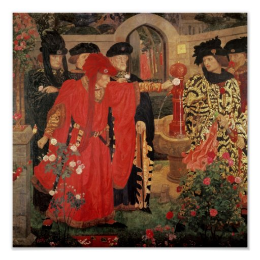 Choosing the Red and White Roses in Temple Poster