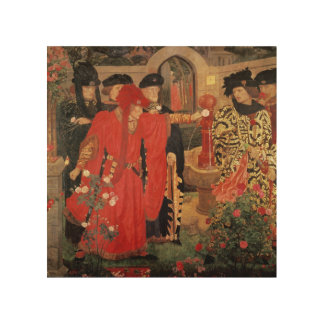 Choosing the Red and White Roses in Temple Wood Wall Art