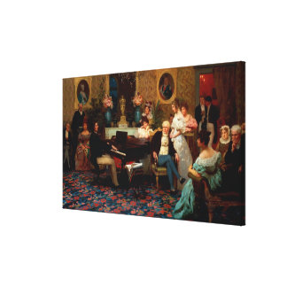 Chopin Playing the Piano Stretched Canvas Print
