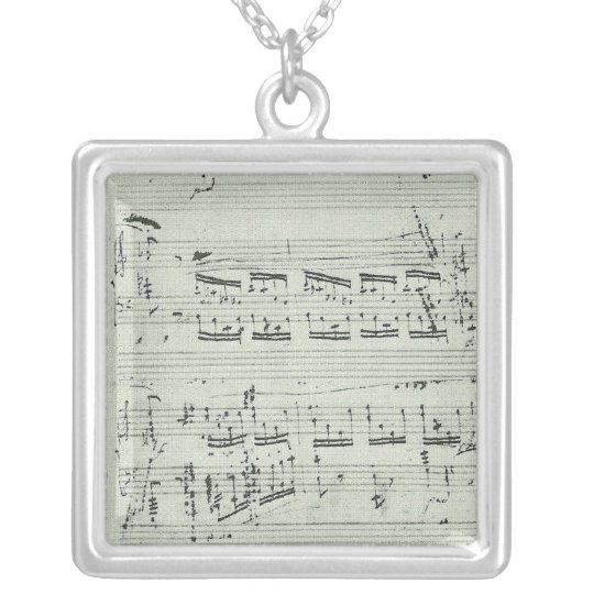 Chopin Polonaise Music Manuscript for Piano Silver Plated Necklace
