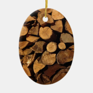 Chopped Fire Wood Ceramic Oval Decoration
