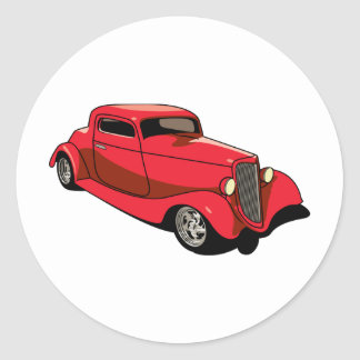 Chopped Red Coupe Classic Round Sticker