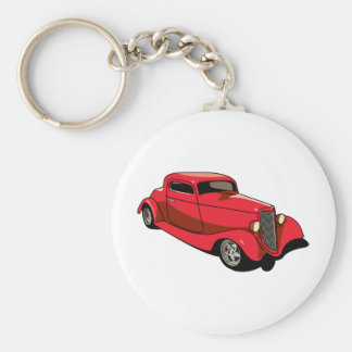 Chopped Red Coupe Key Chain