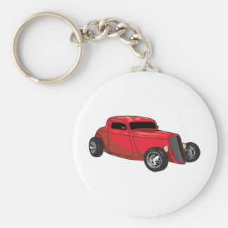 Chopped Red Street Rod Basic Round Button Key Ring