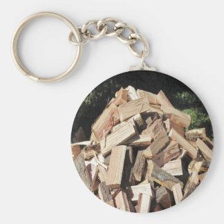 Chopped Wood Pile Outside Basic Round Button Key Ring