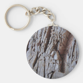 Chopped Wood Texture Photography Basic Round Button Key Ring