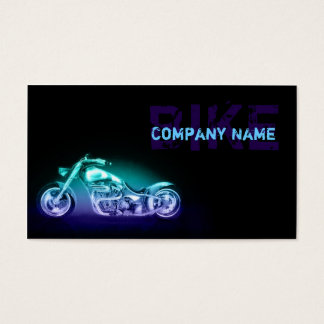 Chopper Bike Neon Light Simple Black Business Card