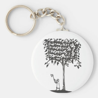 Chopping a Tree Basic Round Button Key Ring