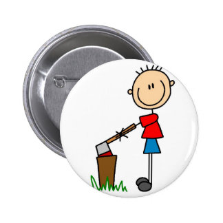 Chopping Wood Stick Figure Button