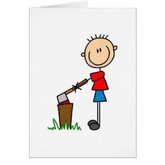 Chopping Wood Stick Figure Card