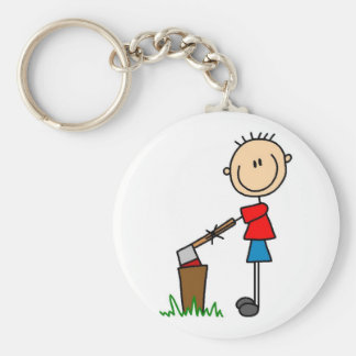 Chopping Wood Stick Figure Tshirts and Gifts Basic Round Button Key Ring