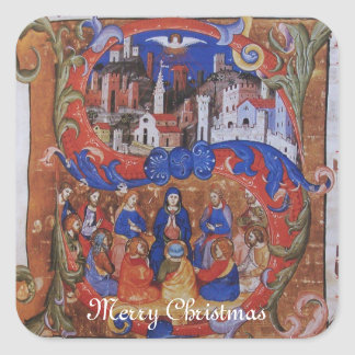 CHORAL MUSIC CHRISTMAS PARCHMENT WITH SAINTS SQUARE STICKER